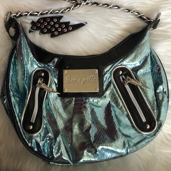 Betseyville Metalllic Blue Handbag